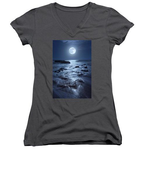 Women's V-Neck T-Shirt (Junior Cut) featuring the photograph Full Moon Rising Over Coral Cove Beach In Jupiter, Florida by Justin Kelefas