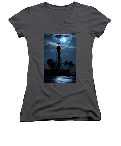 Full Moon Rising Over Hillsboro Lighthouse In Pompano Beach Florida Women's V-Neck