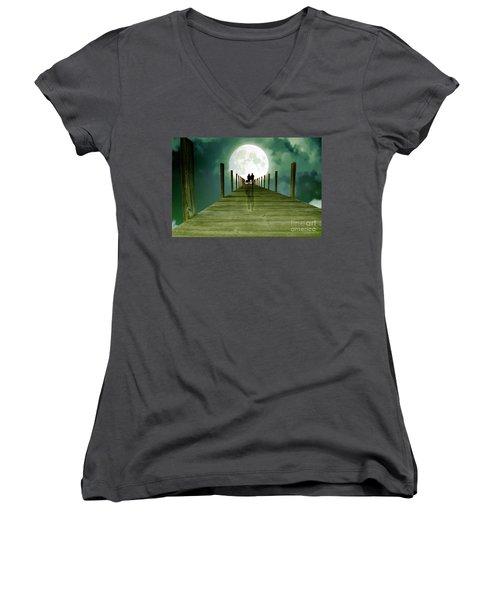 Full Moon Silhouette Women's V-Neck T-Shirt (Junior Cut) by Mim White