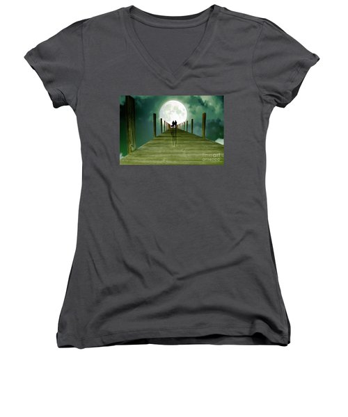 Full Moon Silhouette Women's V-Neck T-Shirt