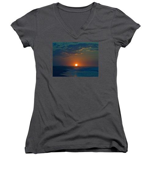 Women's V-Neck T-Shirt (Junior Cut) featuring the photograph Full Sun Up by  Newwwman