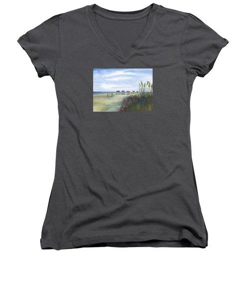 Fun At Folly Field Beach Women's V-Neck T-Shirt (Junior Cut) by Frank Bright