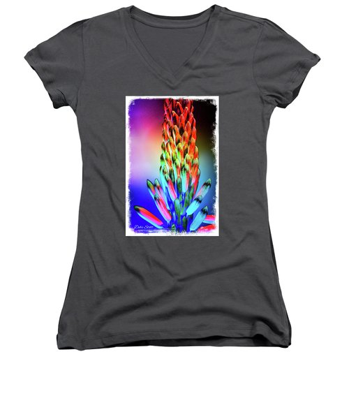 Funky Aloe Women's V-Neck (Athletic Fit)