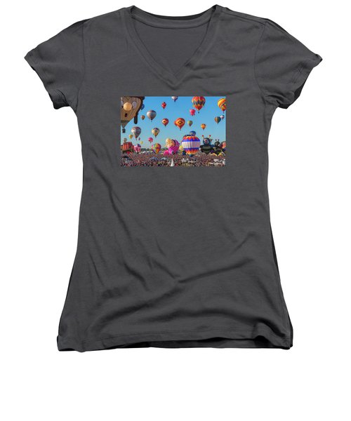 Funky Balloons Women's V-Neck (Athletic Fit)