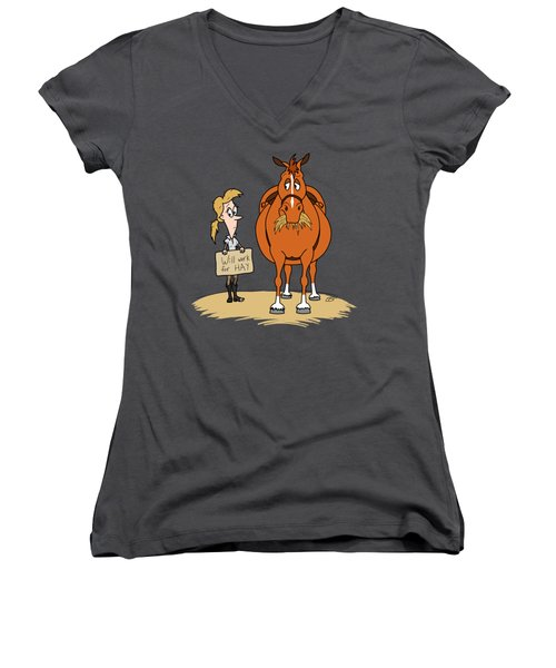 Funny Fat Cartoon Horse Woman Will Work For Hay Women's V-Neck (Athletic Fit)