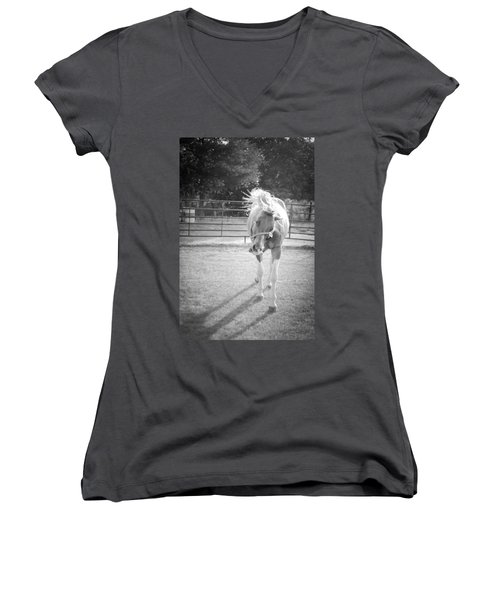 Funny Horse In Black And White Women's V-Neck