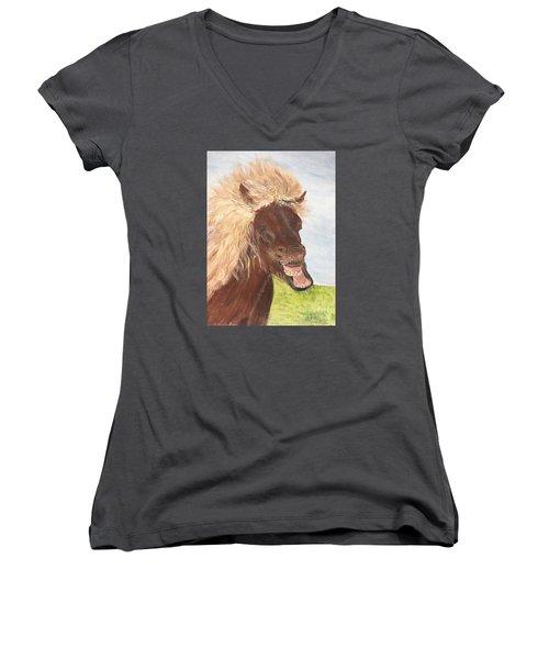 Funny Iceland Horse Women's V-Neck (Athletic Fit)