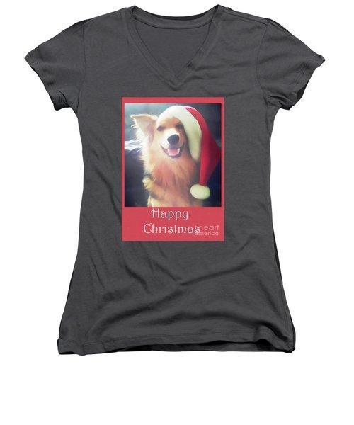 Furry Christmas Elf Women's V-Neck T-Shirt