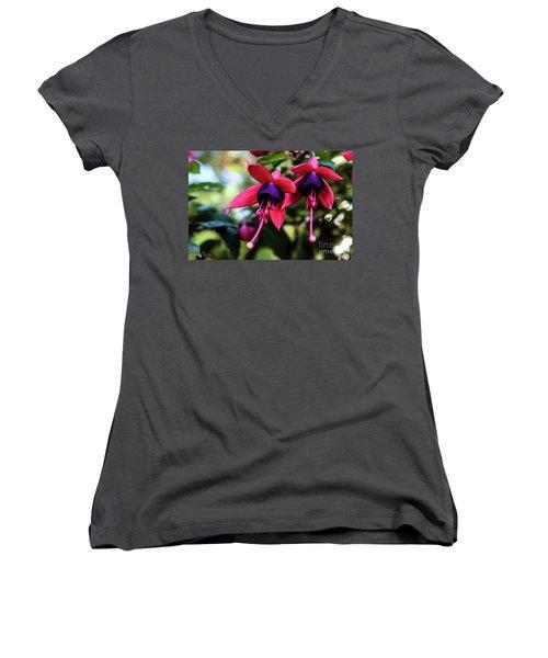 Fuchsia Women's V-Neck