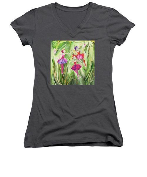 Women's V-Neck T-Shirt (Junior Cut) featuring the painting Fuschia On Discovering The Truth by Nadine Dennis