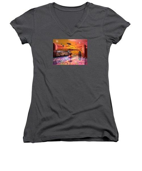 Women's V-Neck T-Shirt (Junior Cut) featuring the digital art Future Horizions Firey Sunset by Jacqueline Lloyd