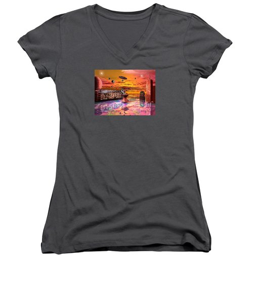 Future Horizions Firey Sunset Women's V-Neck T-Shirt