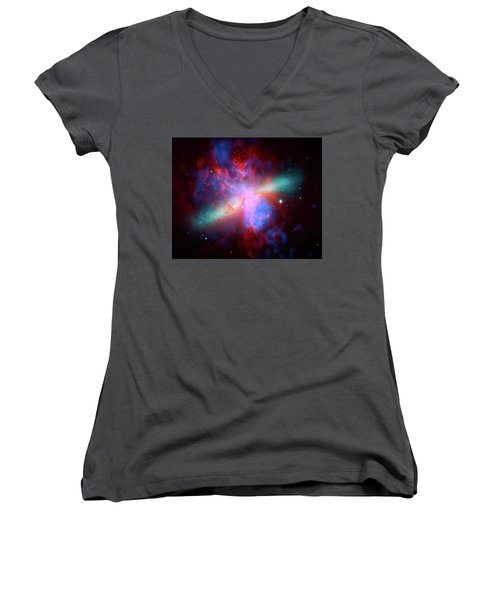 Women's V-Neck T-Shirt (Junior Cut) featuring the photograph Galaxy M82 by Marco Oliveira