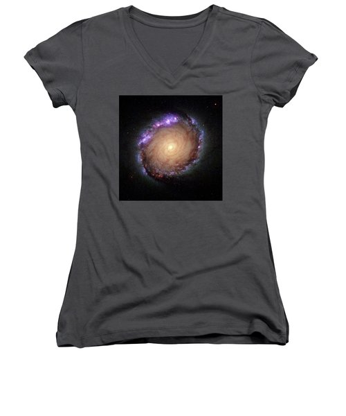 Galaxy Ngc 1512 Women's V-Neck T-Shirt (Junior Cut) by Hubble Space Telescope