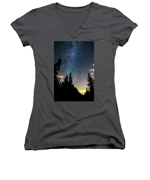 Women's V-Neck T-Shirt (Junior Cut) featuring the photograph  Galaxy Rising by James BO Insogna