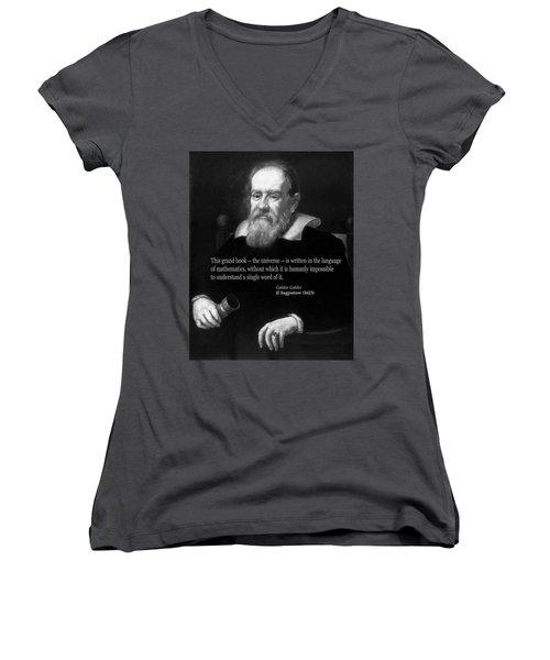 Galileo On Mathematics Bw Women's V-Neck T-Shirt