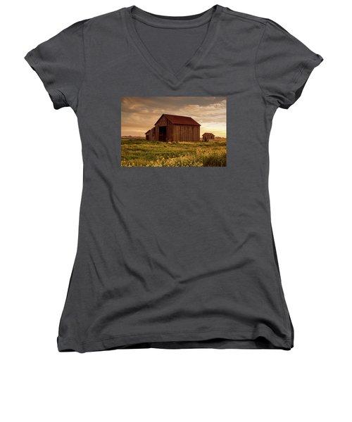 Galt Barn At Sunset Women's V-Neck (Athletic Fit)