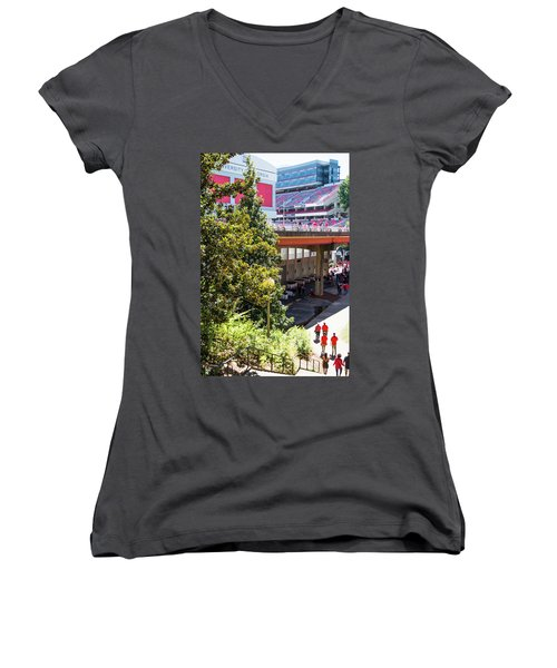 Women's V-Neck T-Shirt (Junior Cut) featuring the photograph Game Day In Athens by Parker Cunningham