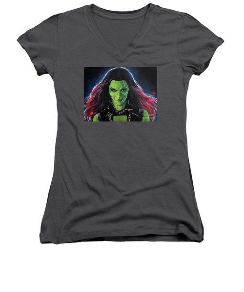 Gamora Women's V-Neck T-Shirt (Junior Cut) by Tom Carlton