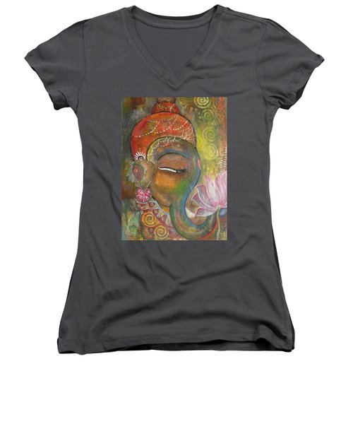 Ganesha With A Pink Lotus Women's V-Neck T-Shirt