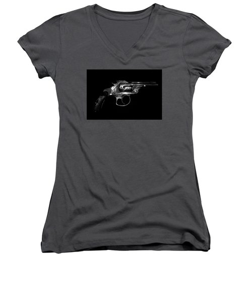 Women's V-Neck T-Shirt (Junior Cut) featuring the mixed media Gangster Gun by Daniel Hagerman