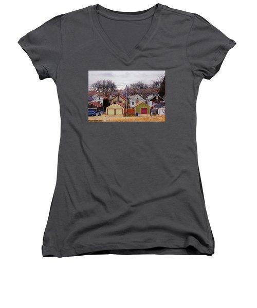 Garages Women's V-Neck T-Shirt (Junior Cut) by David Blank