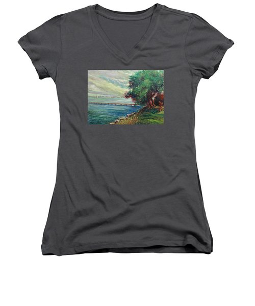 Women's V-Neck T-Shirt (Junior Cut) featuring the painting Garda Lake -lago Garda by Walter Casaravilla