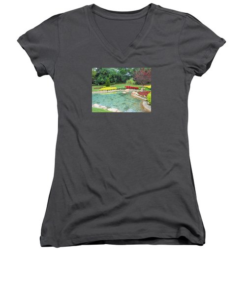 Garden At Epcot Women's V-Neck T-Shirt (Junior Cut) by Kay Gilley