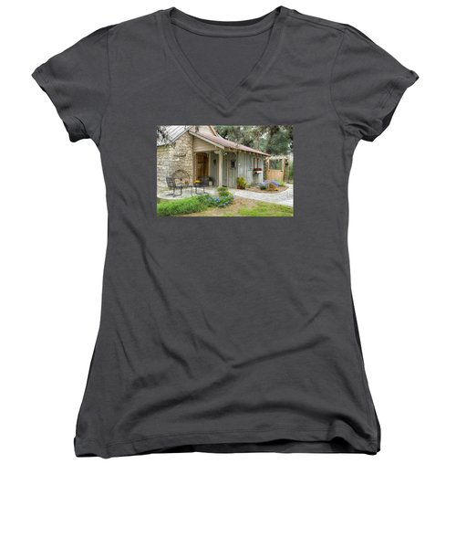 Women's V-Neck T-Shirt (Junior Cut) featuring the tapestry - textile Garden Cottage by Kathy Adams Clark
