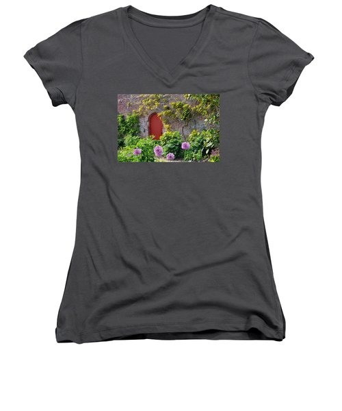 Garden Door - Paint With Canvas Texture Women's V-Neck T-Shirt