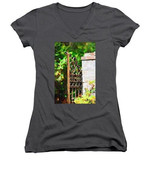 Women's V-Neck T-Shirt (Junior Cut) featuring the photograph Garden Gate by Donna Bentley