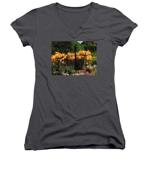 Women's V-Neck T-Shirt (Junior Cut) featuring the photograph Garden Gate by Teresa Schomig