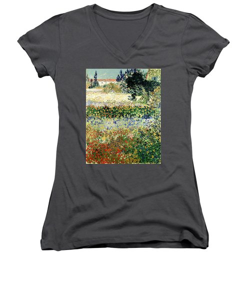 Women's V-Neck featuring the painting Garden In Bloom by Van Gogh