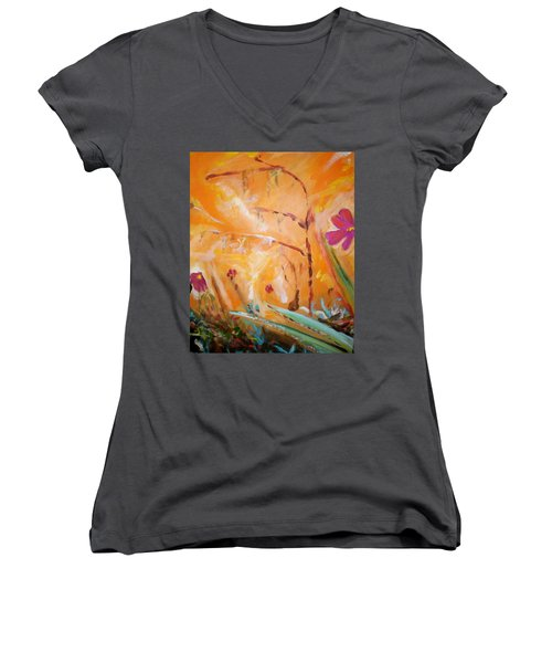 Women's V-Neck T-Shirt (Junior Cut) featuring the painting Garden Moment by Winsome Gunning