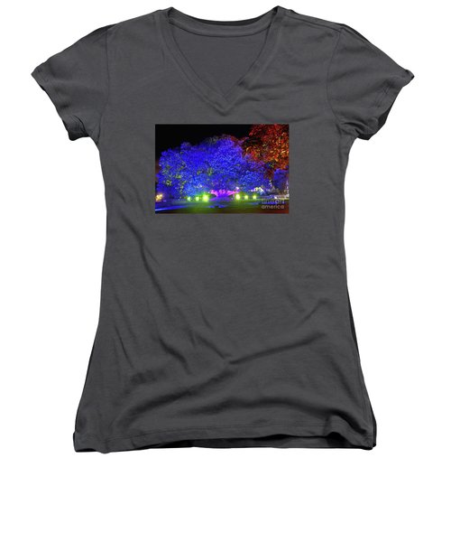 Women's V-Neck T-Shirt featuring the photograph Garden Of Light By Kaye Menner by Kaye Menner