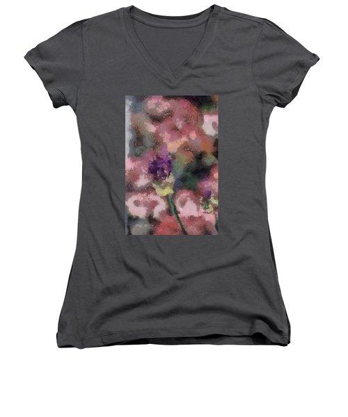 Women's V-Neck T-Shirt (Junior Cut) featuring the mixed media Garden Of Love by Trish Tritz