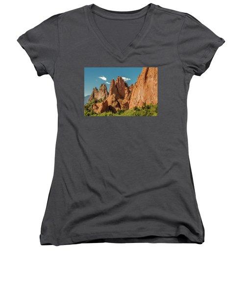 Women's V-Neck T-Shirt (Junior Cut) featuring the photograph Garden Of The Gods by Bill Gallagher