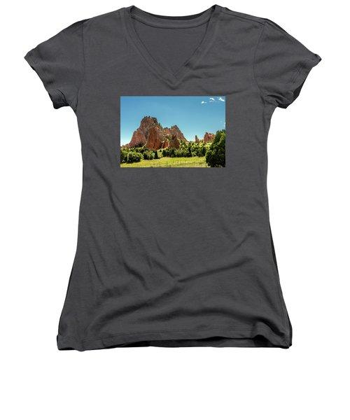 Women's V-Neck T-Shirt (Junior Cut) featuring the photograph Garden Of The Gods II by Bill Gallagher
