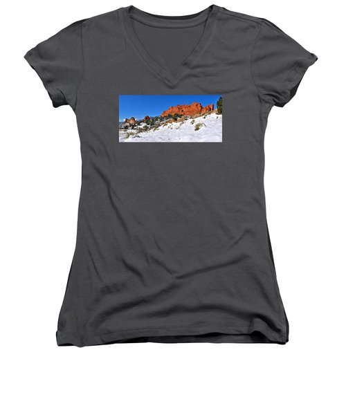 Women's V-Neck T-Shirt (Junior Cut) featuring the photograph Garden Of The Gods Red And White by Adam Jewell