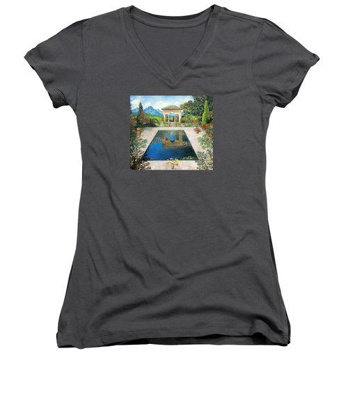 Women's V-Neck T-Shirt (Junior Cut) featuring the painting Garden Reflection Pool by Lou Ann Bagnall