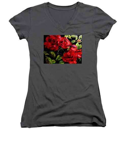 Women's V-Neck T-Shirt (Junior Cut) featuring the painting Garden Roses by Carol Grimes