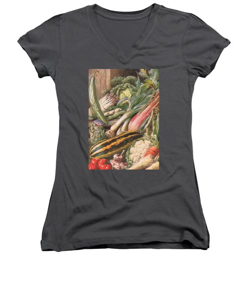Garden Vegetables Women's V-Neck T-Shirt (Junior Cut) by Louis Fairfax Muckley