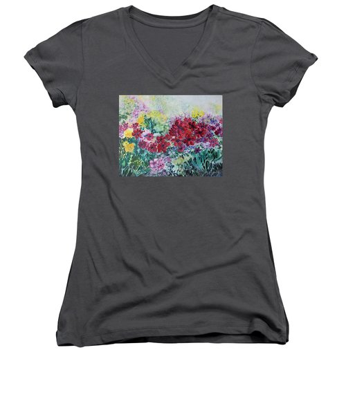 Women's V-Neck T-Shirt (Junior Cut) featuring the painting Garden With Reds by Joanne Smoley