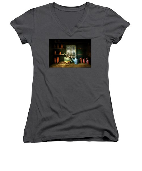 Women's V-Neck T-Shirt (Junior Cut) featuring the photograph Gardener - The Potters Shed by Mike Savad