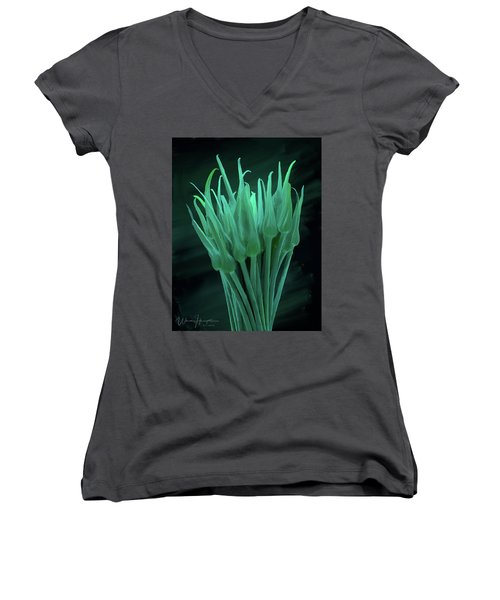 Garlic Scapes 01 Women's V-Neck T-Shirt (Junior Cut) by Wally Hampton