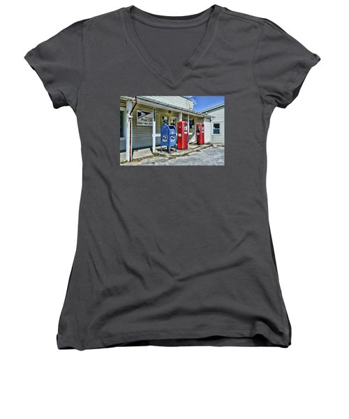 Gas And Mail Women's V-Neck T-Shirt (Junior Cut) by Paul Ward