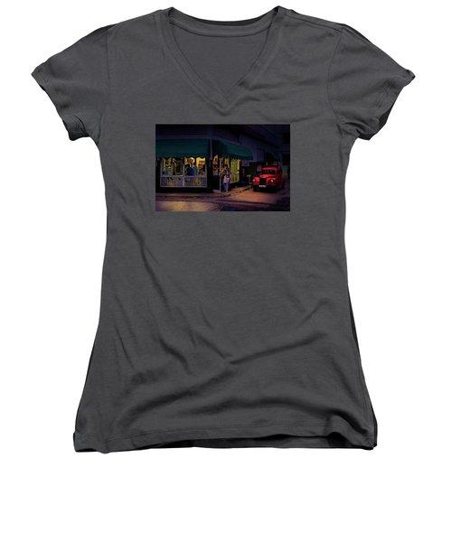 Women's V-Neck T-Shirt (Junior Cut) featuring the photograph Gasolinera Linea Y Calle E Havana Cuba by Charles Harden