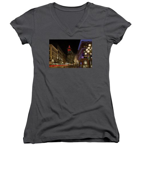 Gastown In Vancouver Bc At Night Women's V-Neck (Athletic Fit)