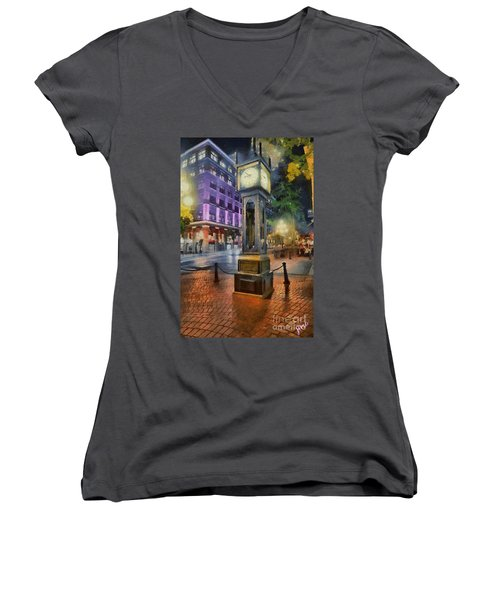 Women's V-Neck T-Shirt (Junior Cut) featuring the digital art Gastown Sreamclock 1 by Jim  Hatch