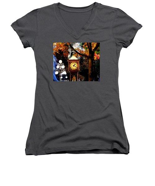 Gastown Steam Clock Women's V-Neck T-Shirt